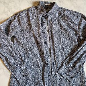 Express Dress Shirt Slim Fit Blue Floral Size L